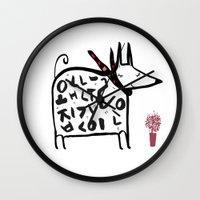 korean Wall Clocks featuring korean dog by lemonluna