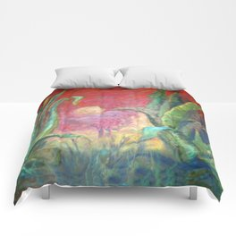 GREEN AGAVE DESERT CACTI & MOON PAINTING RED ART Comforters