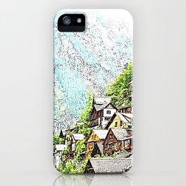 Austria - drawing Hallstatt iPhone Case