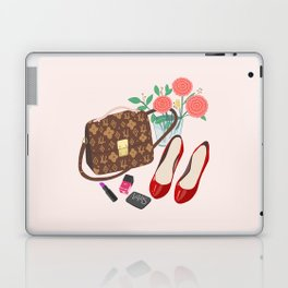 Classic Friday Night, bag, shoes, flower, make up, lipstick art print, girly illustration Laptop & iPad Skin