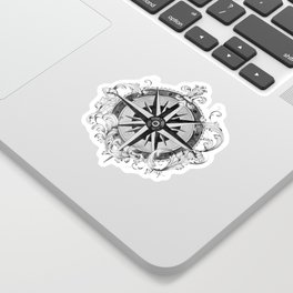 Black and White Scrolling Compass Rose Sticker