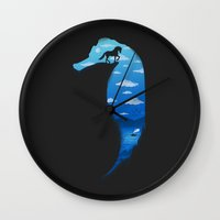 seahorse Wall Clocks featuring Seahorse by Fathi