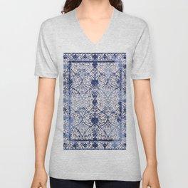 Bleu Vintage Oriental Moroccan Carpet Unisex V-Neck