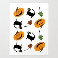 Halloween/October pattern Art Print