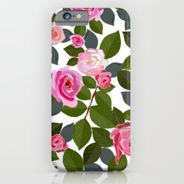 Pink roses and leaves hand drawn pattern iPhone Case