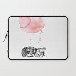 Dreaming Kitten - Pink Watercolor Laptop Sleeve