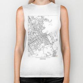 Doha Map White Biker Tank