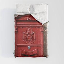 Red mailbox, Split, Croatia Comforters
