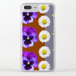 BROWN & PURPLE PANSY WHITE DAISY BUTTERFLIES SPRING Clear iPhone Case
