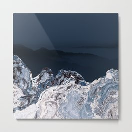 BLUE MARBLED MOUNTAINS Metal Print