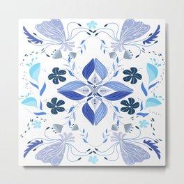 Blue floral folkart Metal Print