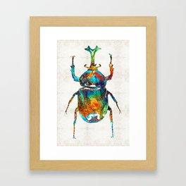 Colorful Beetle Art - Scarab Beauty - By Sharon Cummings Framed Art Print