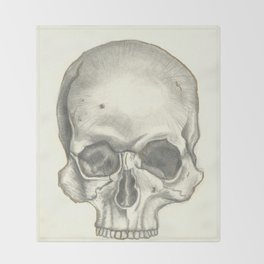Vintage Skull - Black and White Drawing Throw Blanket