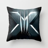 daenerys Throw Pillows featuring X-MEN THE MUTAN CLAW by BeautyArtGalery