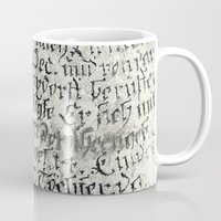 writing Mugs featuring ancient writing by Falko Follert Art-FF77