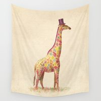 giraffe Wall Tapestries featuring Fashionable Giraffe by Terry Fan