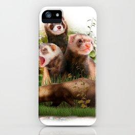 Four Ferrets in Their Wild Habitat iPhone Case