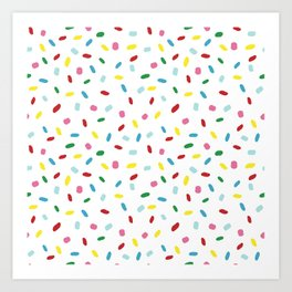 Sweet glazed, with colorful sprinkles on white melting icing Art Print