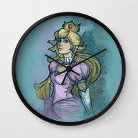 princess peach Wall Clocks featuring Princess Peach by Karen Hallion Illustrations