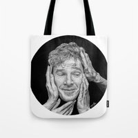 cumberbatch Tote Bags featuring Benedict Cumberbatch  by Cécile Pellerin
