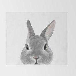Netherland Dwarf rabbit Grey, illustration original painting print Throw Blanket