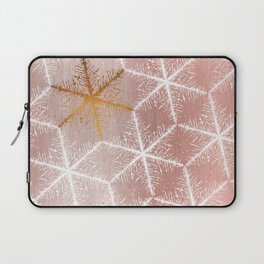 Elegant Geometric Gold Snowflakes Holiday Pattern Laptop Sleeve