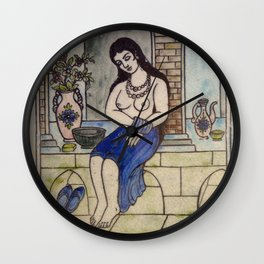 Taking Bath Tile Wall Clock