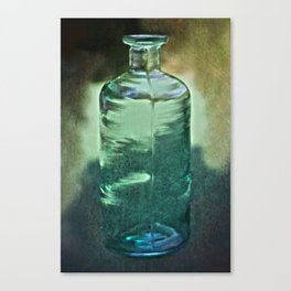 vintage green glass bottle Canvas Print