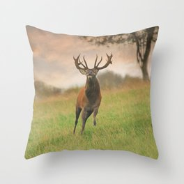 Charging Stag Throw Pillow
