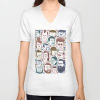faces V-neck T-shirts featuring Faces by Lawerta