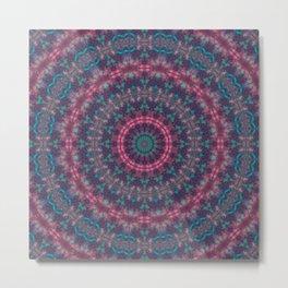 Mandala . Kaleidoscope .Pink blue . Metal Print