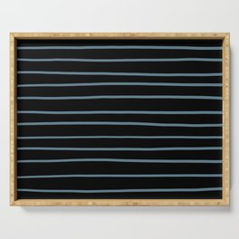 Inspired by Behr Blueprint Blue S470-5 Hand Drawn Horizontal Lines on Black Serving Tray