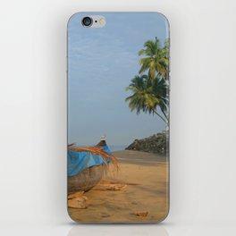 Boat and Palms on Black Beach Varkala iPhone Skin