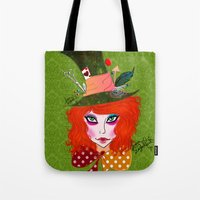 mad hatter Tote Bags featuring Mad Hatter by Lunah