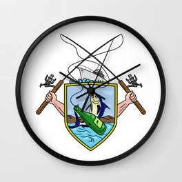 Fishing Rod Reel Blue Marlin Beer Bottle Coat of Arms Drawing Wall Clock