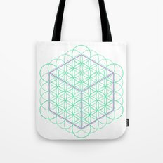 Sacred Geometry - glowing energy lines - cube and flowers Tote Bag
