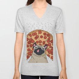 Funny Pug Pizza Unisex V-Neck