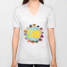 happy 50th small world! Unisex V-Neck