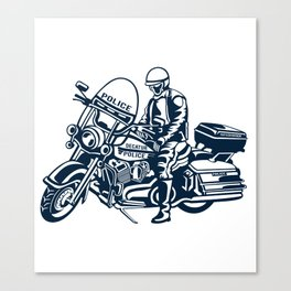 Police Department Motorcycle Officer - Vintage Motorcycle Canvas Print