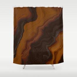 Midnight Amber Dark Abstract Lava Flow Shower Curtain