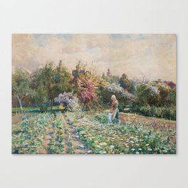ANNA GARDELL-ERICSON, IN THE GARDEN, SCENE FROM VISBY. Canvas Print
