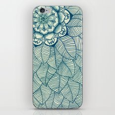 Emerald Green, Navy & Cream Floral & Leaf doodle iPhone & iPod Skin