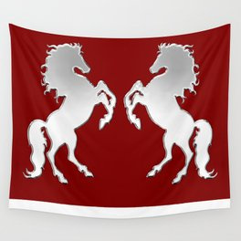 Silver Stallion on Red Wall Tapestry