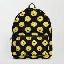 Yellow Smiley Face Black Background Backpack