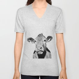 Cow photo - black and white Unisex V-Neck
