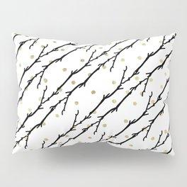 White faux gold polka dots black watercolor tree branch Pillow Sham