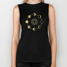 Gold Moon and Sun Phases Biker Tank