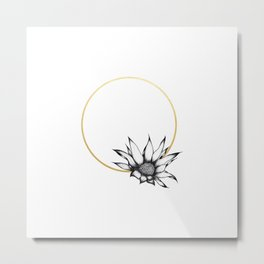 Flower with gold ring Metal Print