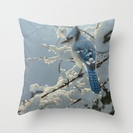 Blue Jay - On the Fence Throw Pillow