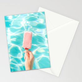 Popsicle Art Hot Day Blue Pink Pool side summer heat Parker Palm Springs  Stationery Cards